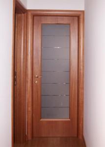 Porta in Legno anta con cassa e cornici tonde a vetro