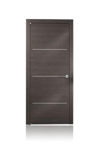Porta in legno essenza rovere grigio con inserti in alluminio